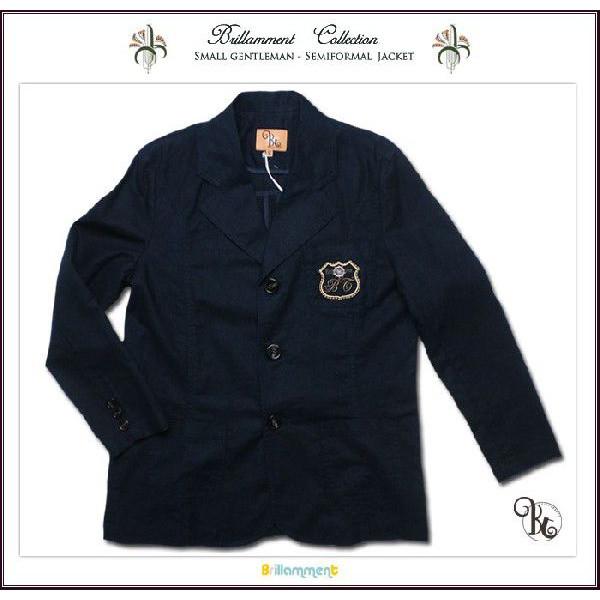 英国小紳士 刺しゅう入り高級感ある麻混テーラードジャケット(JPBt)子供服男の子 ジュニア ネイビー 150-170cm