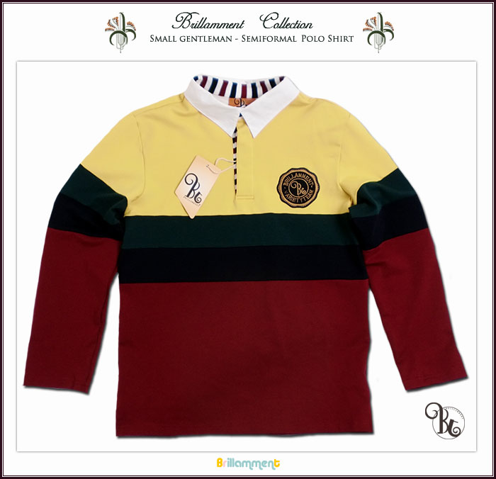 【子供服】 男の子 王子様の普段着 貴族の紋章刺繍入り長袖ポロシャツ(JPBt) 130-140cm  イエロー/バーガンディ キッズ