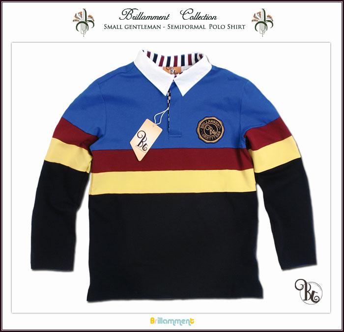 子供服 男の子 英国小紳士 王子様の普段着 貴族の紋章刺繍入り長袖ポロシャツ ブルー/ネイビー